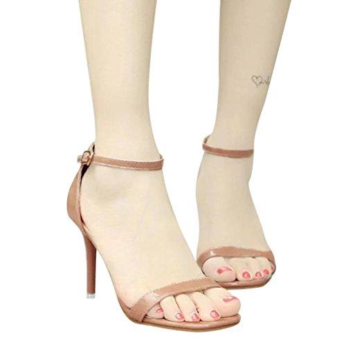 Mode Talons Haute Bohème Kaki Sandales Dames Chevilles Orteil Bloc Chaussures JIANGfu Ouvert Chaussures Plat Sandales Partie Femme Pantoufles Rome Été PFXwvS
