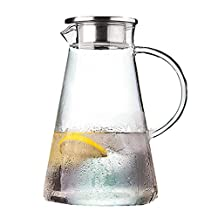 Homestia 68 Ounces Glass Pitcher with Lid and Spout Heat Resistant Pitcher for Hot/Cold Water Homemade Juice & Iced Tea