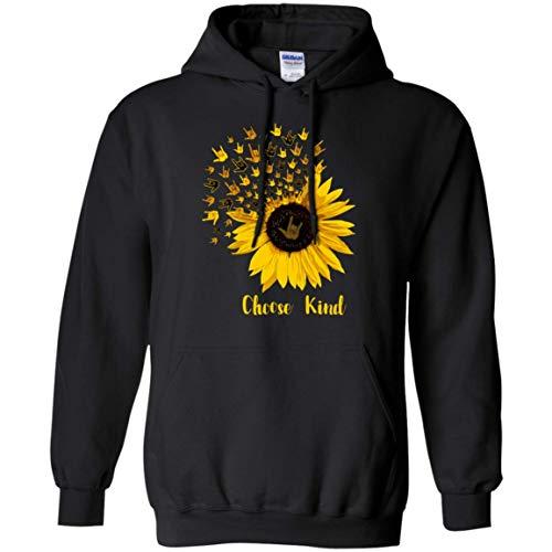 Choose Kind Sunflower I Love You ASL American Sign Language Pullover Front Pocket Hoodie Black ()