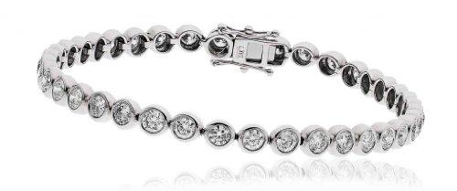 5CT Certified G/VS2 Round Brilliant Cut Rubover Diamond Tennis Bracelet in 18K White Gold
