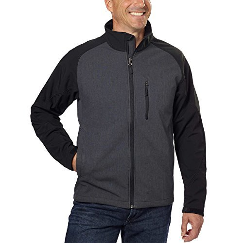 Kirkland Signature Men's Softshell Jacket (Medium, Asphalt Hearther/Black) by Kirkland Signature