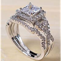 phitak shop 925 Silver White Topaz Princess Cut Halo Wedding Engagement Ring Set Size 6-12 (12)
