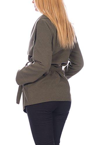 Kendindza chaqueta Abrigo de la capa de las mujer señoras gabardina con cinturón Onesize largo y corto Khaki kurz