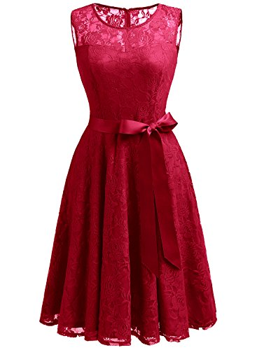 Dressystar 0009 Floral Lace Dress Short Bridesmaid Dresses with Sheer Neckline XL Red ()