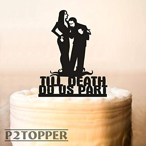 Wedding Cake Topper,Halloween Wedding Cake Topper,Adams Family,Morticia And Gomez Topper,Till Death Do Us Part,Halloween Cake Topper -
