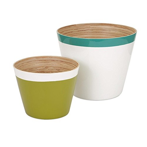 """CC Home Furnishings Set of 2 Color Block Teal Blue Green and White Bamboo Cachepot Flower Planters 12"""""""