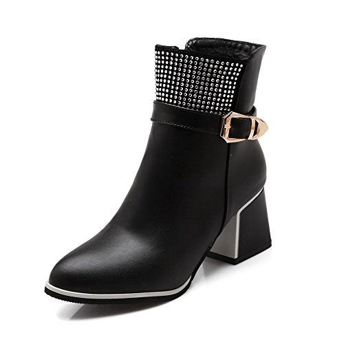 AgooLar Women's Low-Top Solid Zipper Pointed Closed Toe Kitten-Heels Boots Black QbpsoeAGQl