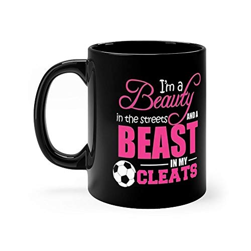 s Beast In My Cleats Soccer 11 Oz Black Ceramic Glossy Mugs With Easy Grip Handle, Give A Classic For Look And Feel. 11 Oz Ceramic ()