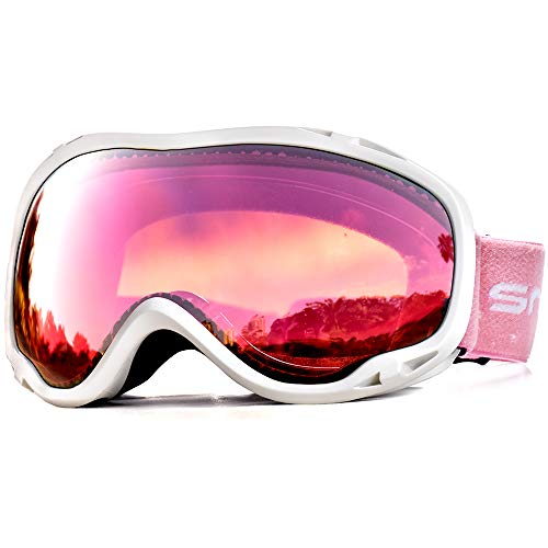 HUBO SPORTS Ski Snow Goggles Clear Men Women Adult, OTG Snowboard Goggles Dual Lens Anti Fog UV Protection Youth(WBRose)