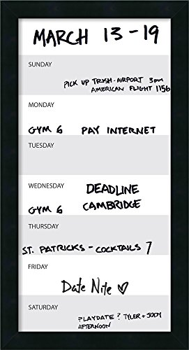 Framed Glass Dry Erase Board Vertical Panel, Grey Week Calendar: Outer Size 14 x 26'' by Amanti Art