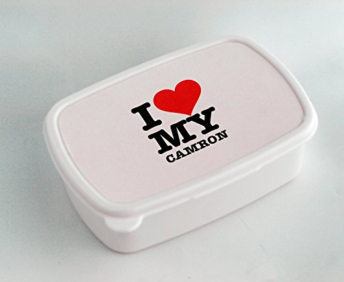 White lunch box with I LOVE MY CAMRON