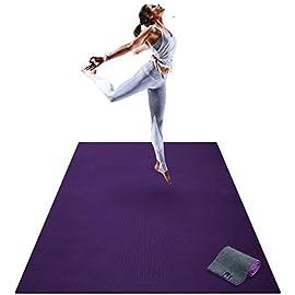 Premium Large Yoga Mat – 6′ x 4′ x 8mm Extra Thick & Comfortable, Non-Toxic, Non-Slip, Barefoot Exercise Mat – Yoga…