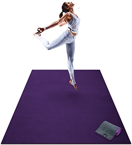 Premium Large Yoga Mat - 6' x 4' x 8mm Extra Thick & Comfortable, Non-Toxic, Non-Slip, Barefoot Exercise Mat - Yoga, Stretching, Cardio Workout Mats for Home Gym Flooring (72
