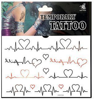 Self-Adhesive Lovely Cute Cardiogram Heart Pattern Symbol Temporary Tattoo Body Art Waterproof Removable Sticker AOSTEK(TM)