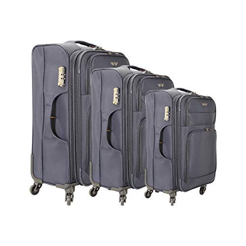 Texas USA Nylon Blue 20, 24, 28 Inch Soft Luggage Trolley Cabin Cum Check in Bag   Set of 3