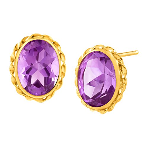2 1 2 ct Natural Amethyst Button Stud Earrings in 14K Gold