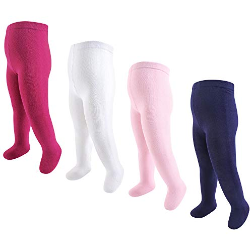 (Touched by Nature Organic Cotton Tights, 4 Pack, Navy and Pink, 0-9 Months )