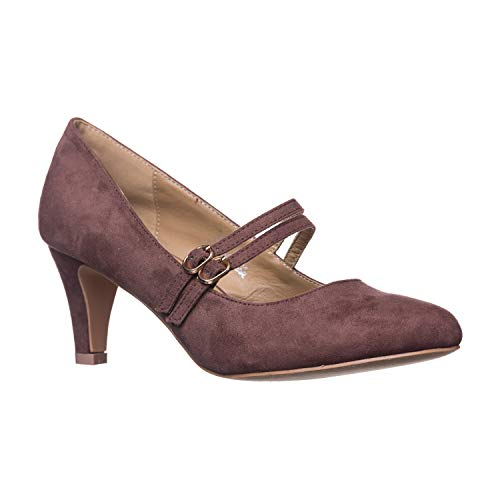 Riverberry Women's Mila Chunky, Mid Heel Mary Jane Pump Heels, Brown Suede, 10 ()