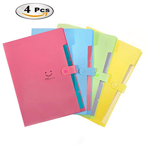 Emivery Plastic Expanding File Folders File Wallets Document Organizer,5-Pocket A4 and Letter Size File Organizer with Snap Closure Paper Organizer Set of 3 (2 Pocket Document Wallet)