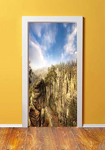 Nature 3D Door Sticker Wall Decals Mural Wallpaper,Wonders of the World National Park Rock Formation Czech Image,DIY Art Home Decor Poster Decoration 30.3x78.4643,Sky Blue Tan Cream Olive Green