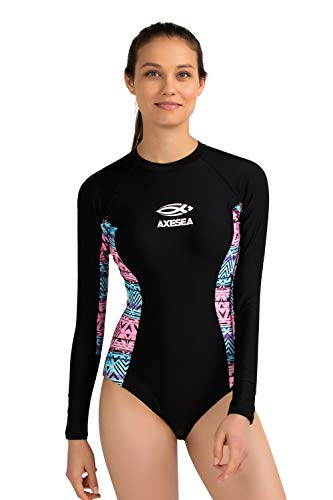AXESEA Womens Long Sleeve Rash Guard UV UPF 50+ Sun Protection Printed Zipper Surfing One Piece Swimsuit Bathing Suit (4, Candy Pink)