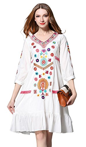 5c6270aac71 Shineflow Womens Casual 3 4 Sleeve Floral Embroidered Mexican Peasant  Dressy Tops Blouses Shirt Dress Tunic - Delocus Store