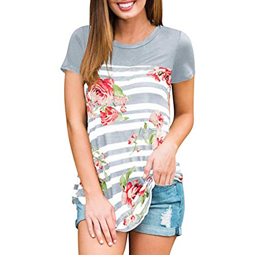 TANLANG ♥Women Stitching Tops Tees Tunic Floral Print Casual Striped Print Short-Sleeved T-Shirt Top Loose Holiday Blouse Gray