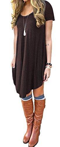 Women's Irregular Hem Short Sleeve Casual T Shirt Flowy Short Dress Coffee L
