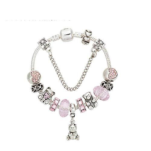 Shisky Women's Bracelet,Bear Pendant Crystal Beaded Alloy Set with Gemstone Diamonds (Gemstone Pendant Bear)