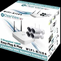 Clear View IP Surveillance Camera 4 Camera 2 Megapixel Complete WiFi Security System Kit with seven(7) years warranty free lifetime