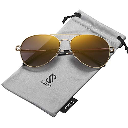 SOJOS Classic Aviator Mirrored Flat Lens Sunglasses Metal Frame with Spring Hinges SJ1030 with Gold Frame/Brown Mirrored Lens