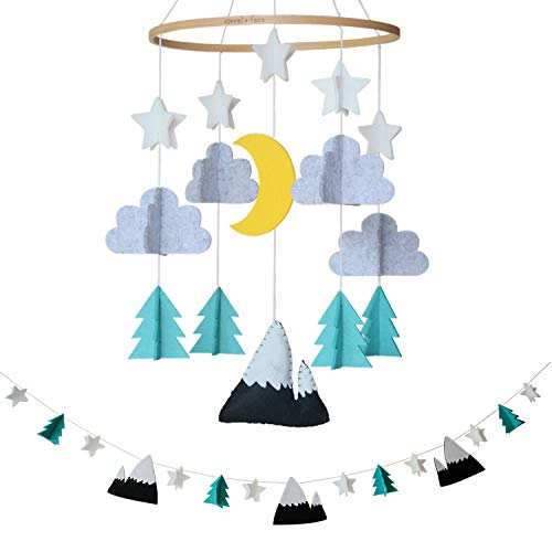 Baby Crib Mobile by Sorrel + Fern- Starry Woodland Night Nursery Decoration | Crib Mobile for Boys and Girls (Mint) from Sorrel + Fern