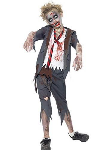 Boys Childrens Zombie Schoolboy Halloween Fancy Dress Costume (7-9 years) by Smiffys - FREE delivery -