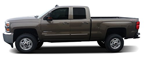 Painted Body Side Molding with Color Insert for Chevrolet Silverado Double Cab (2014-2016) - Switchblade Silver Metallic (WA636R) with Yellow Color Insert (Ci2 Replacement Blades compare prices)