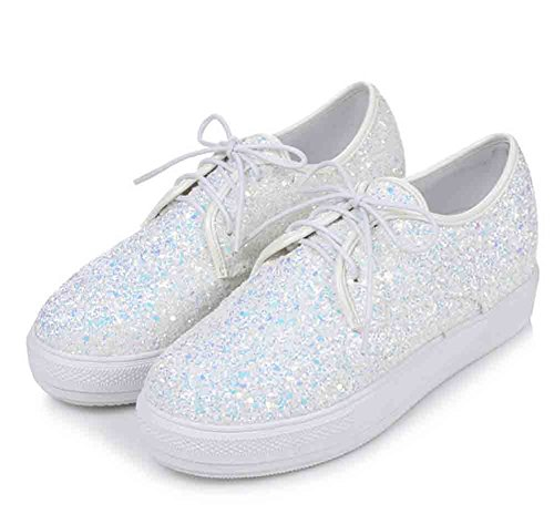 Round Lace Top Sneakers White Low Women's up Toe Comfy Elastic Aisun Sequins q186wnt