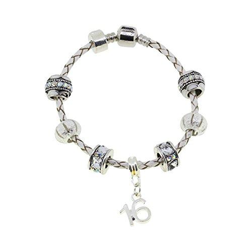 16th Birthday Leather Charm Bracelet European Style Gift Boxed - Birthday 16th Presents