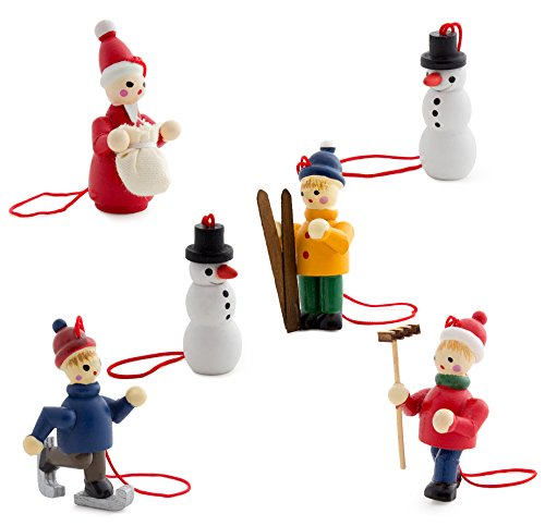 Wooden Santa Ornament - BRUBAKER 6 Handpainted Wooden Christmas Tree Ornaments Decoration Winter Outdoor Activity- Santa Claus, Snowman, Ice Skater, Skier - Designed in Germany