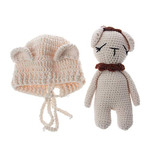 EA-STONE Newborn Baby Bear Knit Hat Beanie With Bear Dolls Photography Props Outfits