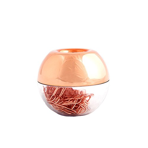 Desk Office Clip (MultiBey NE0600607  Light Luxury Fashion Paper Clips, Rose Gold Edition, In Round Paper Clip Holder With Magnetic Lid, 28 mm, 100 Piece Per Box)