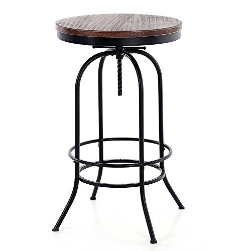 - iKayaa 24inch Bar Pub Table Round Pinewood Industrial Style Dining Room