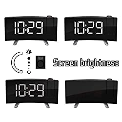 ❤️MChoice❤️Arc Led Projection Alarm Clock Modern Desktop Clock Radio Snooze Dual Alarm (White)