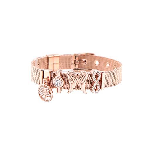 FOMBZQGDKUZ Rose Gold Fantasy Mesh Slide Charm Bracelet Stainless Steel Bracelet Set 3 ()