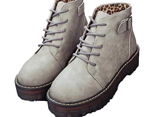 YCMDM'S Martin Donne PU Stivali artificiale singoli pattini Grigio Giallo Marrone Nero 39 36 35 38 37 , grey , 38