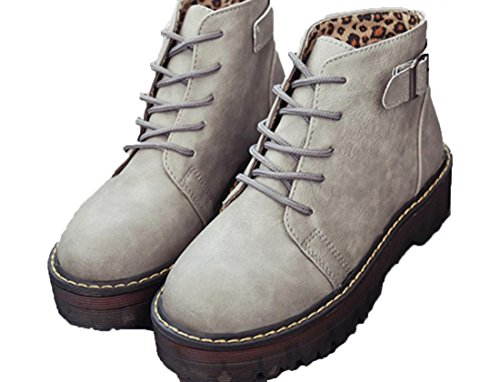 XDGG Femmes Bottes Martin Artificial PU Chaussures Simple Gris Jaune Marron Noir 39 36 35 38 37 grey H9u4u3