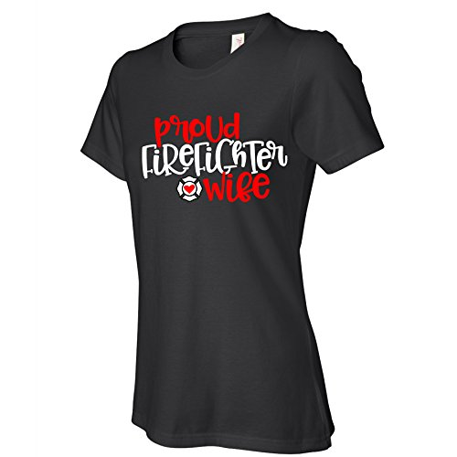 - Vinyl Boutique Shop Proud Firefighter Wife Women's Black t Shirts Supporting Wives Of Fireman Tshirt With Saying