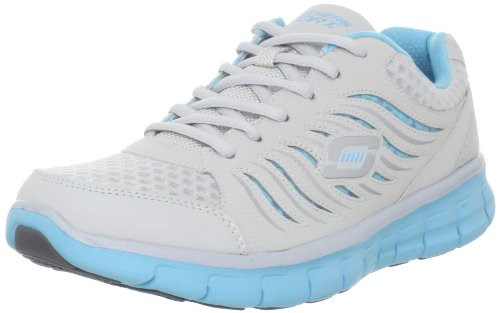 New Skechers Synergy Light Grey/Blue Ladies 10