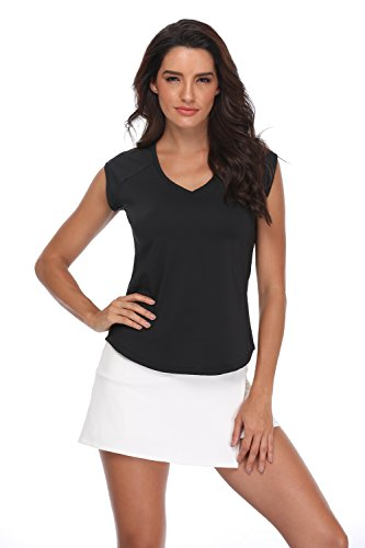 - Pulchrumcs Women's V-Neck Shirt Mesh Back Pullover Short Cap Sleeve Sports Shirt Quick-Drying Tee Black