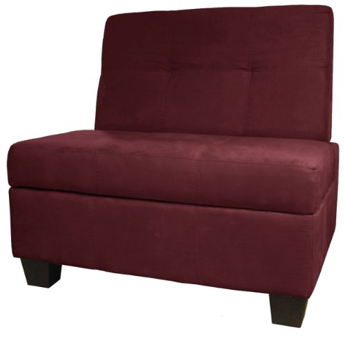 Butler Microfiber Upholstered Tufted Padded Hinged Storage Ottoman Bench, 36-inch-size, Microfiber Suede Wine Red