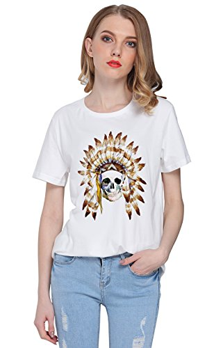 So'each Women's Indian Skull Painting Graphic Tee T-shirt Tops