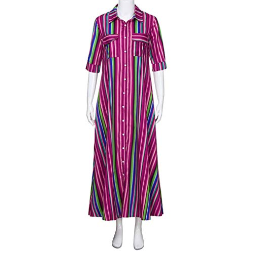 Robe Button Dress Pink Loose Women Sleeve Casual Multicolor Maxi Style Long Shirt Beach Boho Down XILALU T Half Print Striped a0wUUq